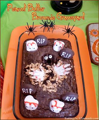 Peanut Butter Brownie Graveyard, a fun Halloween dessert for the chocolate and peanut butter lover. | Recipe developed by www.BakingInATornado.com | #recipe #Halloween
