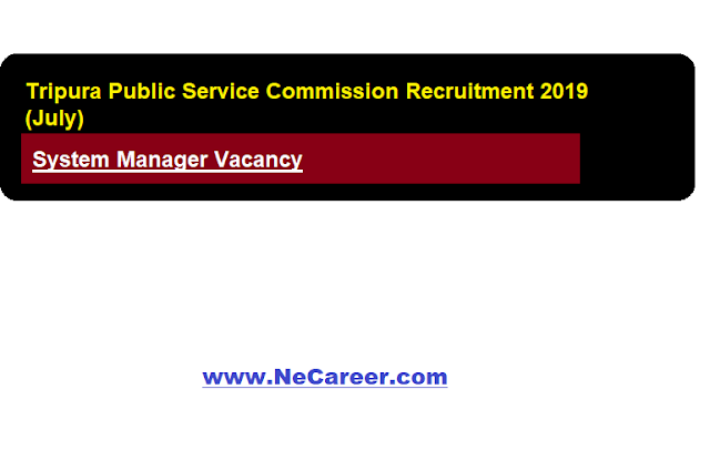 Tripura Public Service Commission Recruitment 2019 (July) | System Manager Vacancy