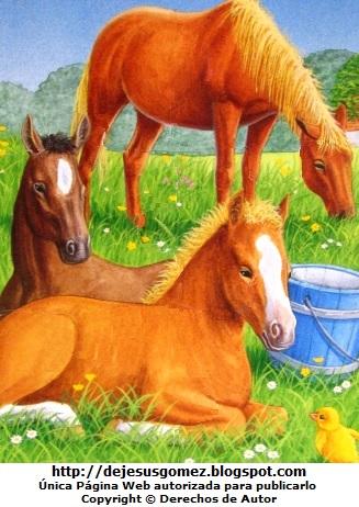 Dibujo de caballos en el campo de Jesus Gómez