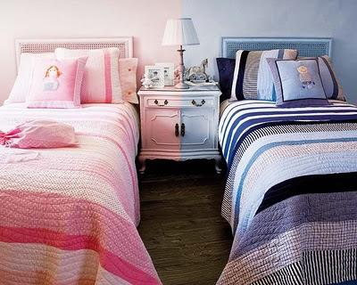 dividindo quarto menino e menina azul e rosa