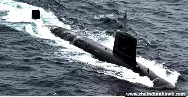 Indian Submarine in Indian Ocean