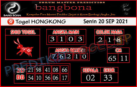 Prediksi Bangbona Togel Hongkong Senin 20 September 2021