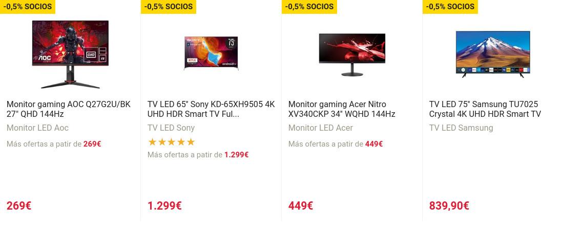 Buenas ofertas en Fnac en cuatro TVs y tres monitores