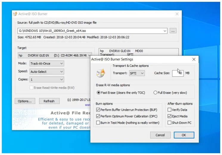 Active@ ISO Burner :  Εγγραφή εικόνων ISO σε CD / DVD / Blu-ray ISO