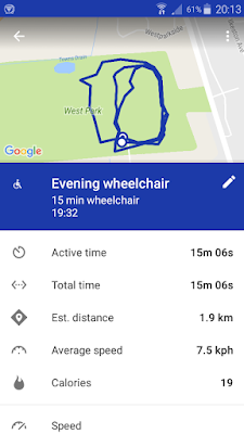 Google Fit, telling me we travelled 1.9 km in 15 mins.