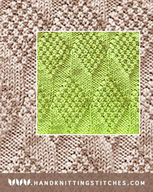 Moss Diamond and Lozenge Knit Purl Pattern