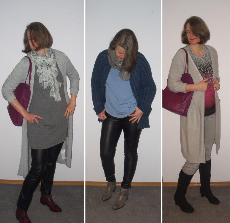 Strickmäntel, Lederröhren, oversized Jacken winterlich kombiniert