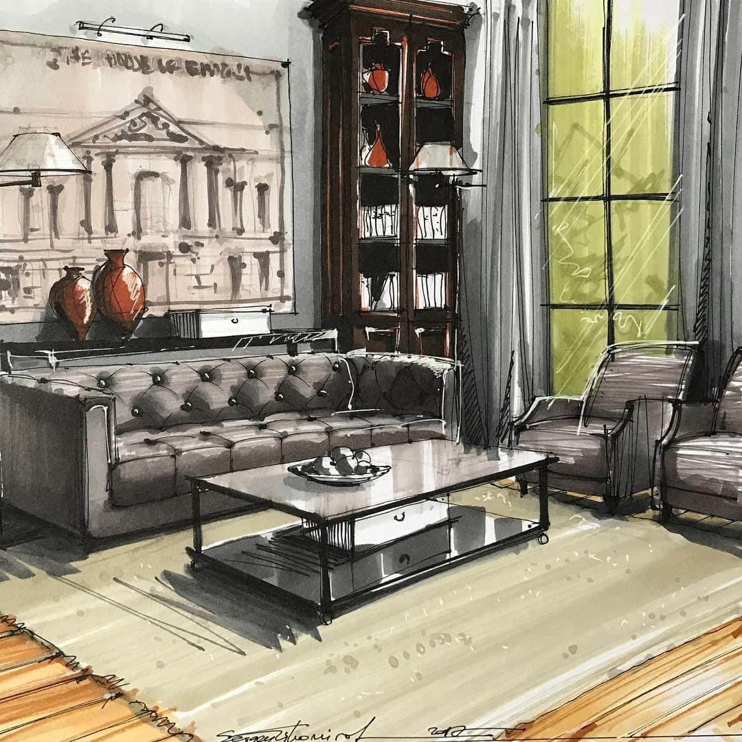 06-Living-Room-and-Bookcase-Sergei-Tihomirov-СЕРГЕЙ-ТИХОМИРОВ-Varied-Living-Room-Interior-Design-Sketches-www-designstack-co