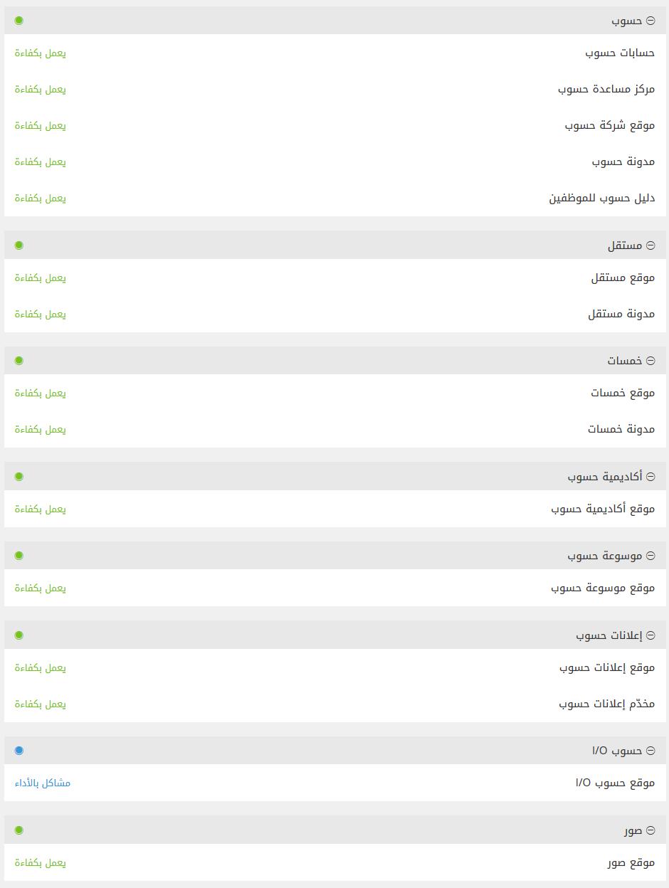 موقع جديد من حسوب لمتابعة حالة مواقع حسوب المختلفة