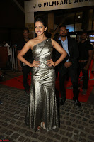 Rakul Preet Singh in Shining Glittering Golden Half Shoulder Gown at 64th Jio Filmfare Awards South ~  Exclusive 042.JPG