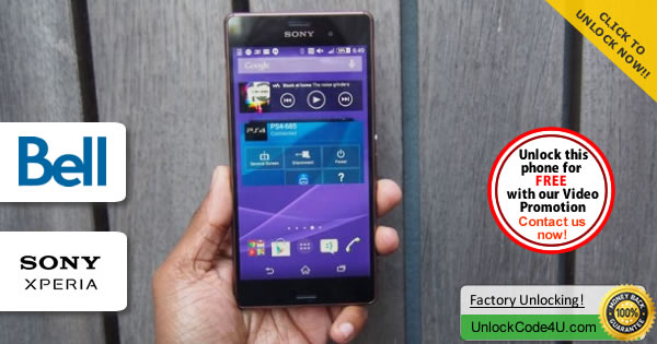 Factory Unlock Code Sony Xperia Z3 from Bell