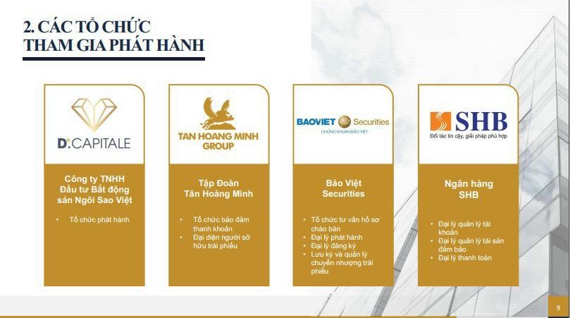 Các tổ chức tham gia phát hành Trái phiếu Tân Hoàng Minh