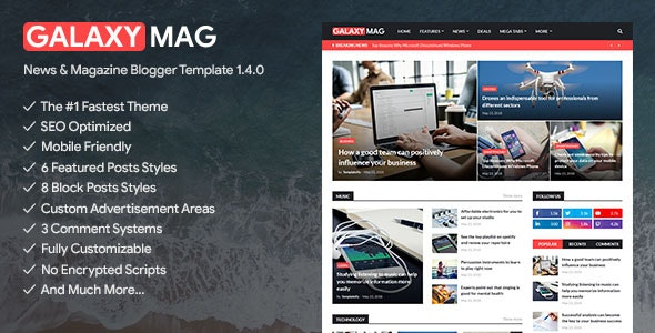 GalaxyMag - Responsive News & Magazine Blogger Template