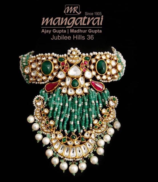 Green Beads Tassels Choker by Mangatrai