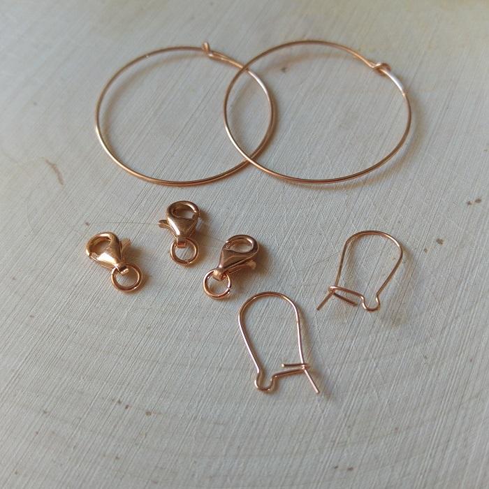 fermoirs, chaines, boucles d'oreilles, dores rose, pour tissage peyote, brickstitch, loom, square stitch, metier à tisser, en perles miyuki delicas 11/0
