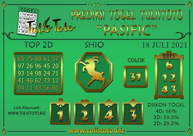 Prediksi Togel PASIFIC TULISTOTO 18 JULI 2021