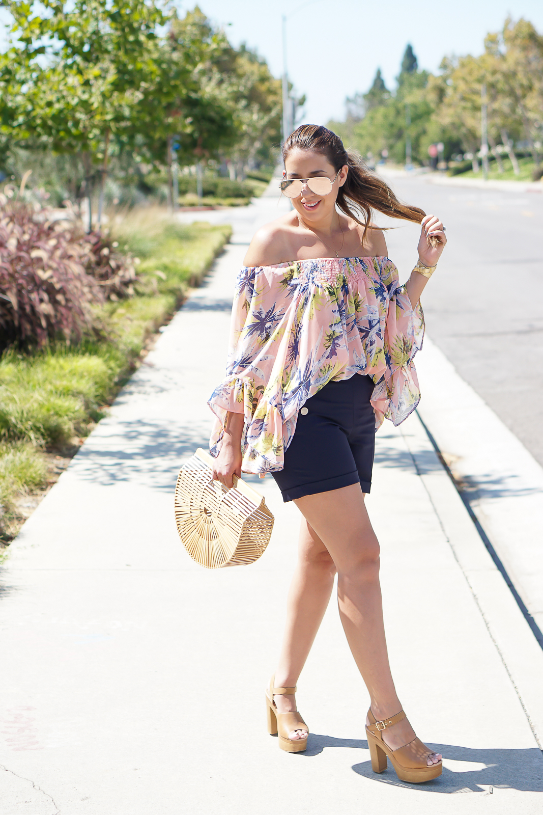 Boohoo lola print chiffon off the shoulder top, Navy blue H&M Shorts, Shoemint Block heels, Gaias Ark Cult Gaia Bag