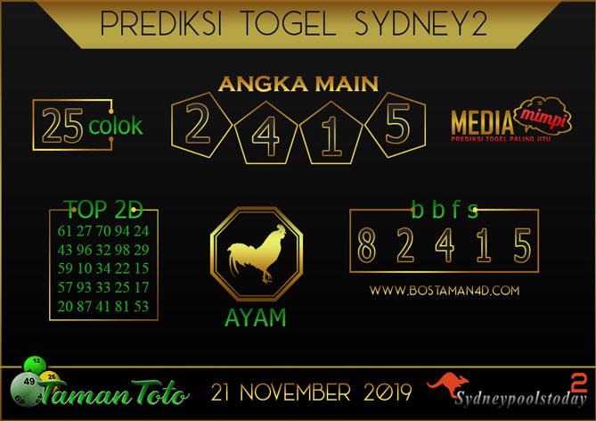 Prediksi Togel SYDNEY 2 TAMAN TOTO 21 NOVEMBER 2019