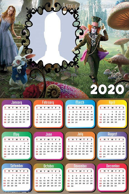 Alice in Wonderland: Free Printable 2020 Calendar.