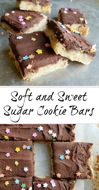 Super soft sugar cookie bars topped with super chocolaty sweetened condensed milk buttercream are a fun, easy and popular treat!