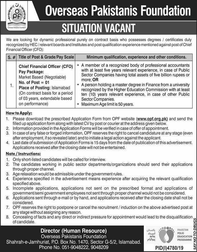 Overseas Pakistan Foundation OPF Jobs 2020