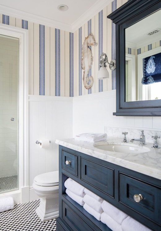 Navy Blue Bathroom Design Idea
