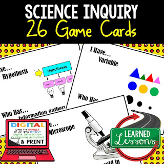 science game cards for print and digital distance learning, earth science distance learning, life science distance learning, physical science distance learning, elearning, online learning, google classroom