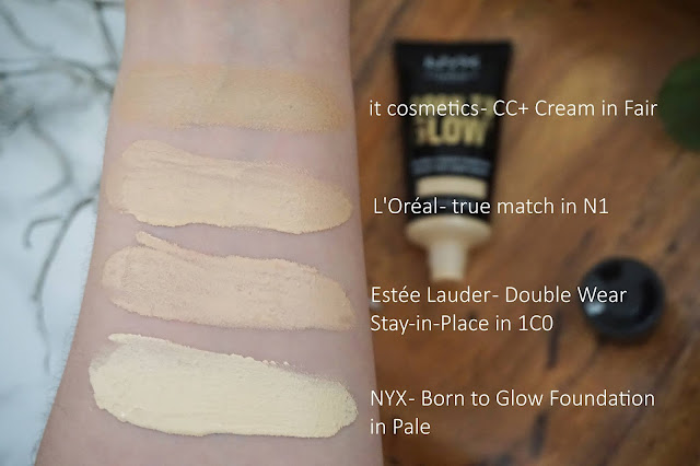 Review NYX - Born to Glow Foundation Swatches
