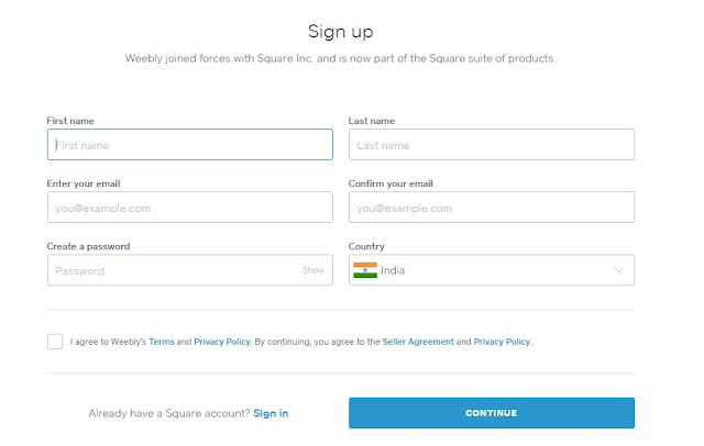 weebly sign up form