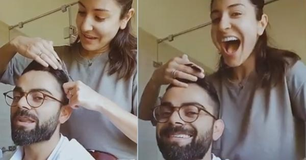 anushka sharma cuts virat kolhli hair video