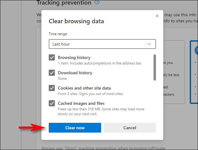 """في نافذة """"محو بيانات التصفح"""" في Microsoft Edge ، انقر فوق """"امسح الآن""""."""