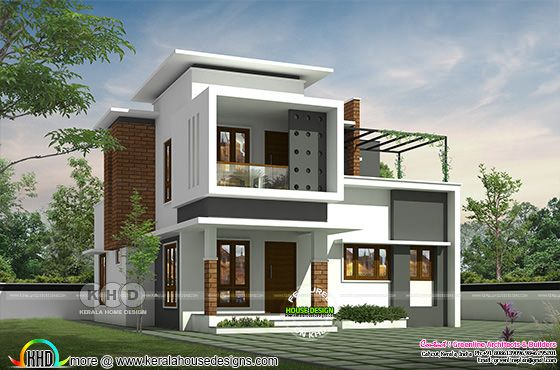 Modern house rendering in an area of 1800 square feet