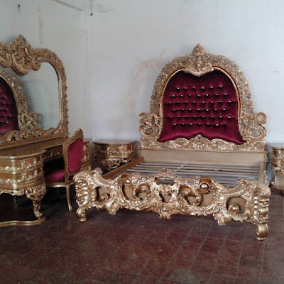 CLASSIC BEDROOM SET-BEDROOM SET CLASSIC GOLD LEAF HIGH CLASS INDONESIA FURNITURE STORE
