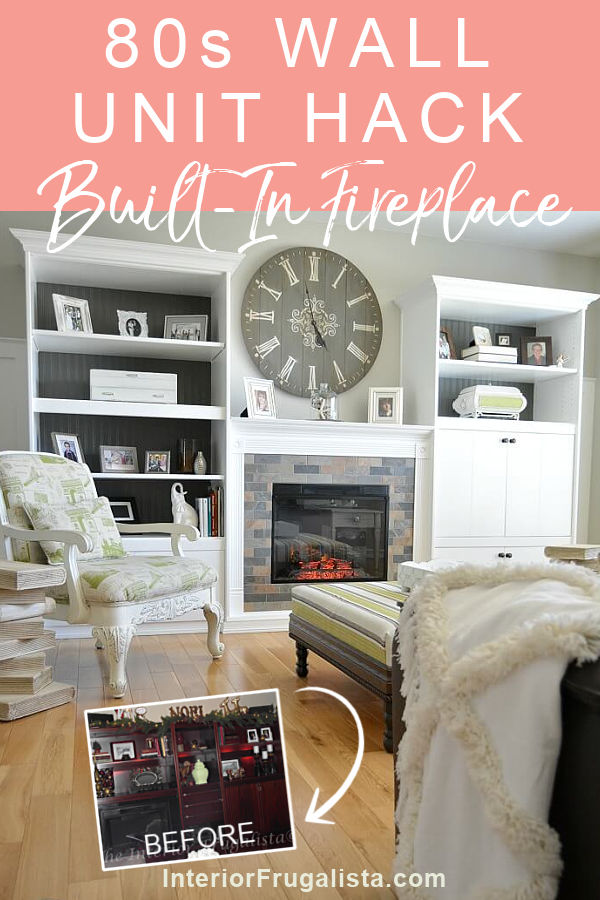 How to repurpose an 80s wall unit into a beautiful built-in custom DIY fireplace with flanking bookcases, a living room feature wall idea on a budget! #furniturehack #repurposedfurniture #fireplacediy