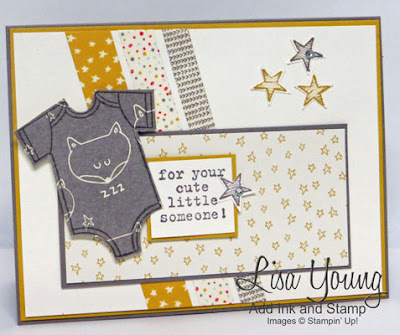 Stampin' Up! Made With Love stamp set. Baby card with die cut onesie. Washi tape  and stars on background. Handmade by Lisa Young, Add Ink and Stamp
