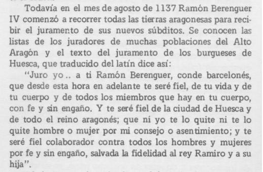 Juramén de la burguesía de Osca a Ramón Berenguer IV