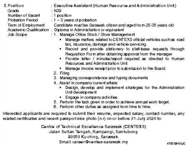 Job Vacancy at Centre of Technical Excellence Sarawak (CENTEXS)