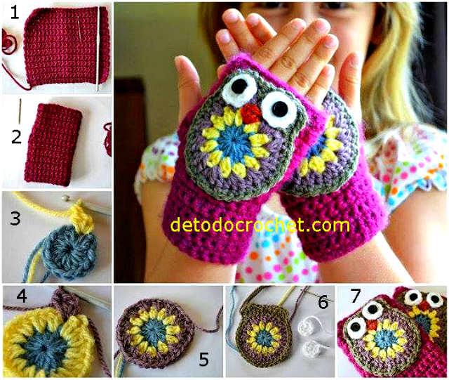 como tejer mitones buhos al crochet
