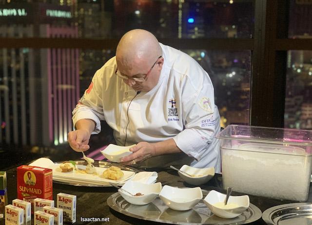 Chef Erich Anton Roos preparing sweet desserts
