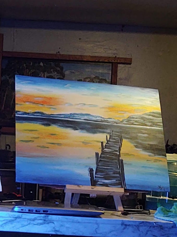 Painted this landscape Saturday from a live paint and sip with Michelle the painter.