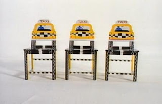 Three taxi chairs appear in an animation. Sesame Street The Great Numbers Game