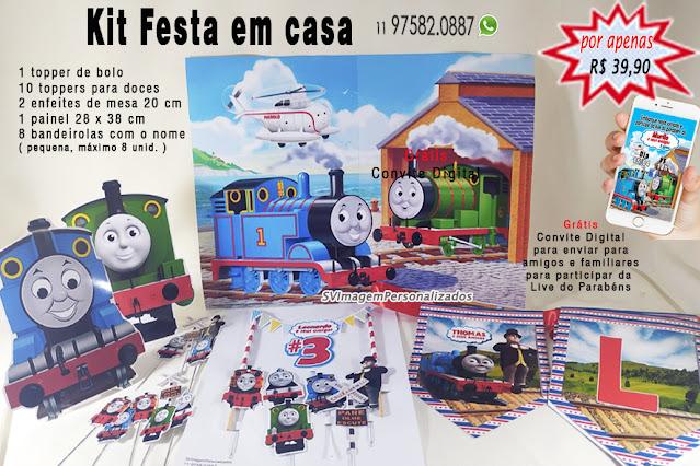 Thomas e seus Amigos Dica para festa  personalizados Baratos kit festa em casa só um bolinho