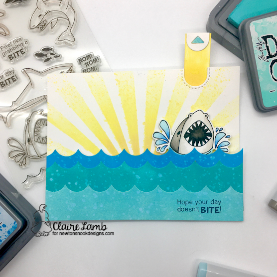 Hope your day doesn't bite by Claire features Shark Bites, Sky Borders, and Sunscape by Newton's Nook Designs; #inkypaws, #newtonsnook, #sharkcards, #stenciling, #cardmaking