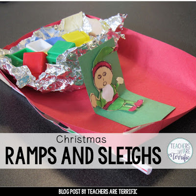 STEM Challenge: Build a sleigh that can travel down a ramp to deliver toys!