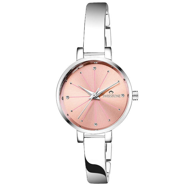 SWISSTONE Analogue Pink Dial Silver Plated Bracelet