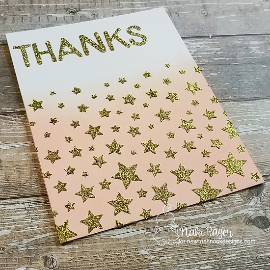 Thank You Card by Nakaba Rager | Cascading Stars Stencil and Essential Alphabet Die Set by Newton's Nook Designs #newtonsnook #handmade
