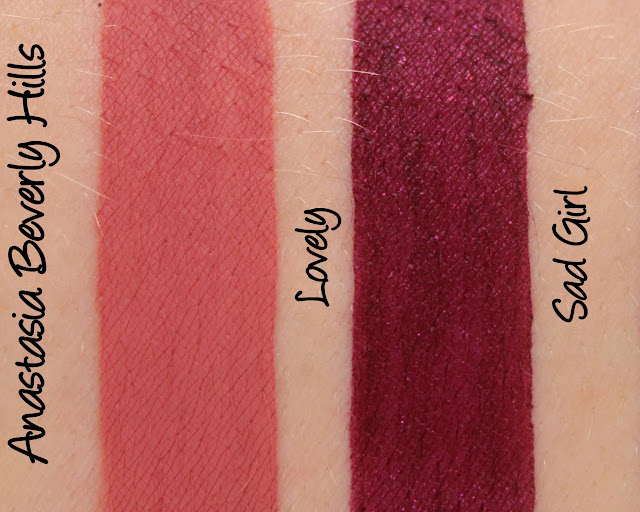 Anastasia Beverly Hills Liquid Lipstick - Lovely and Sad Girl Swatches & Review