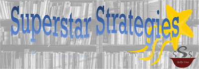 """Washed out library shelf in background with blue text reading """"Superstar Strategies"""" in foreground."""