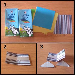 Gambar tutorial celengan dari kotak susu part 1