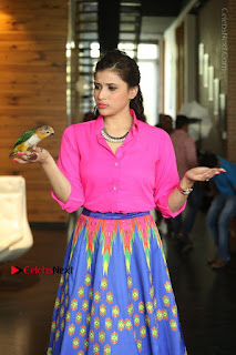 Actress Mannar Chopra in Pink Top and Blue Skirt at Rogue movie Interview  0057.JPG